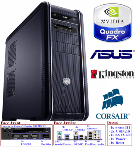 Station Montage Vidéo FullHD RT<br><small>Intel i7 5960x - GTX 760 - SSD 250Go - 6To - 16Go</small>